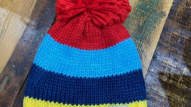 Unisex Multi Coloured Fleece Lined Bobble Hat