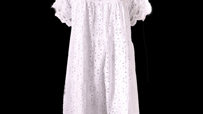 White Embroidery Short Cotton Summer Dress/Tunic