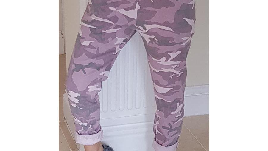 Rose Pink Camo Print Lounge Pants
