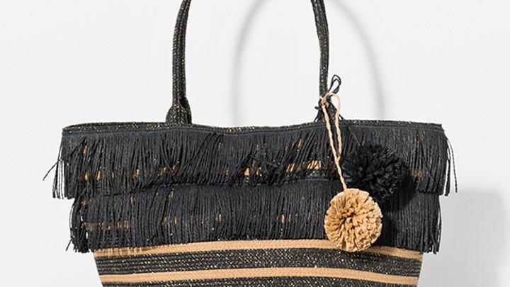 Black Fringe Pom Pom Bag