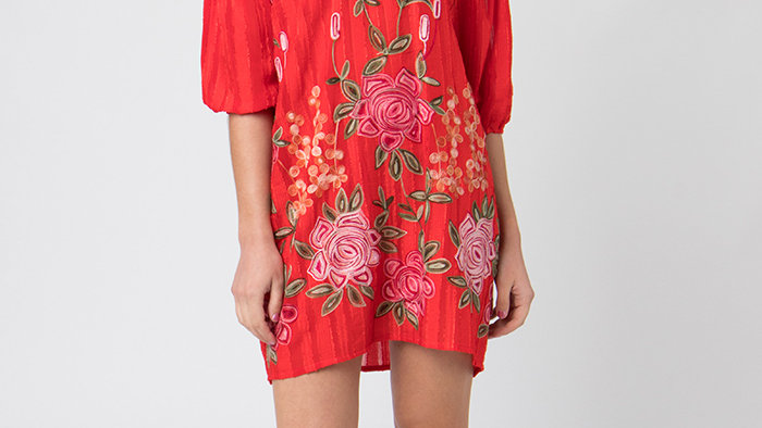 Red Floral Off the Shoulder Tunic