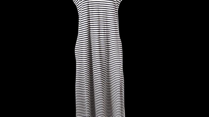 Navy Stripe Maxi Cotton Summer Dress