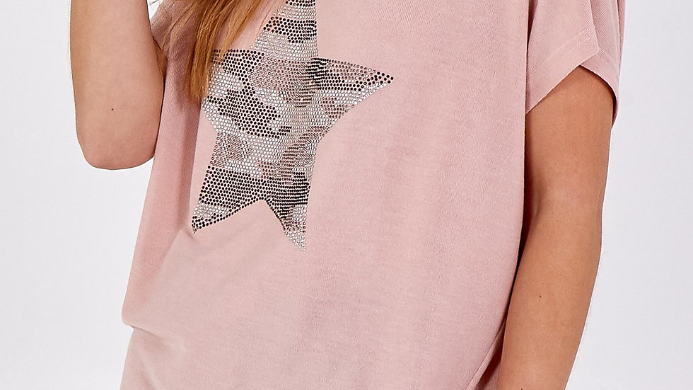 Pink Tee with Sequin Star Logo