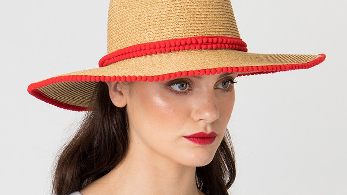 Wide Brim Straw Summer Hat with Red Braiding