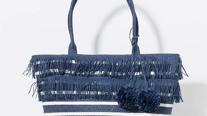 Navy Fringe Pom Pom Bag