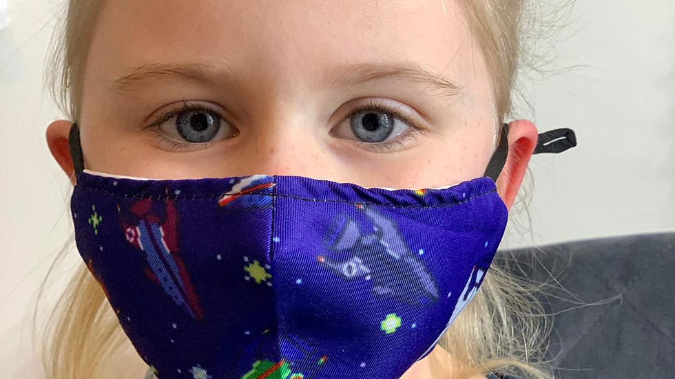 Childrens Blue Space Face Covering