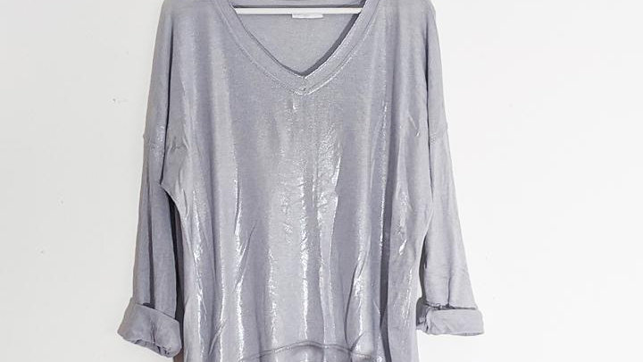 Vintage Silver Grey V Neck with Silver Edging