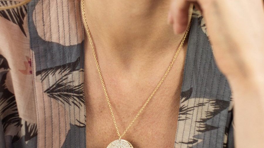 Gold Plated Mandala Disc Necklace