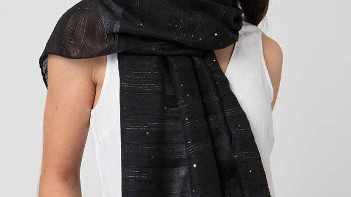 Black Summer Scarf/Wrap with Sparkle Sequins