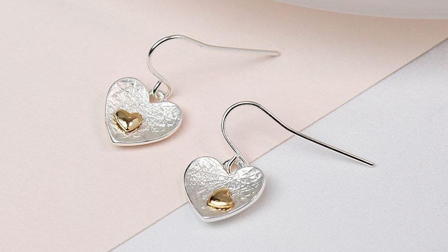 Heart Inset Drop Earring