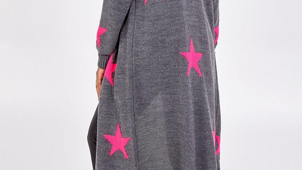 Dark Grey and Pink Stars Long Cardi