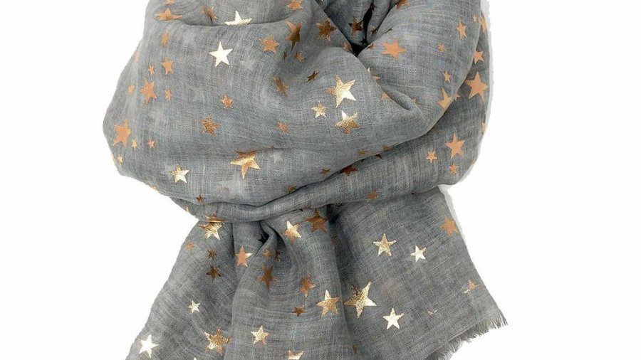 Grey Scarf with Gold Stars