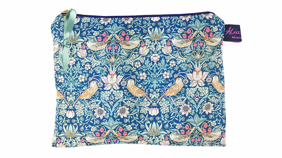 Travel Pouch Strawberry Thief Forest Blue - Liberty Print