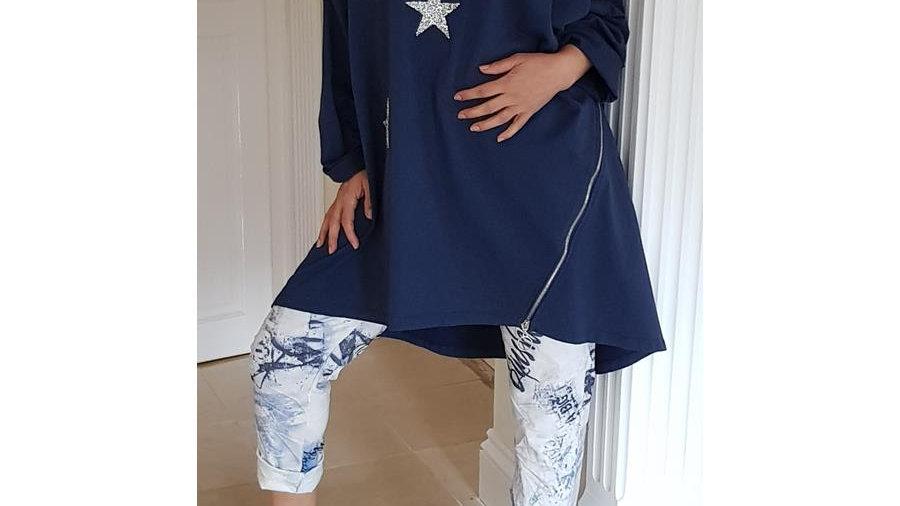 Navy 3 Star Hoodie Tunic