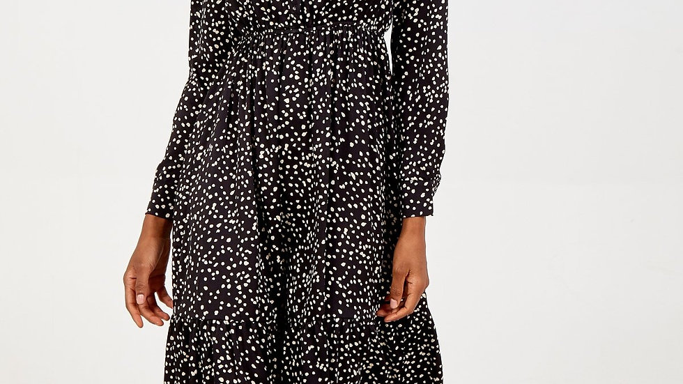 Black and Ivory Speckled Long Frill Dress