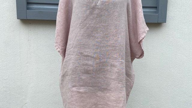 Pink Linen V Neck Tunic