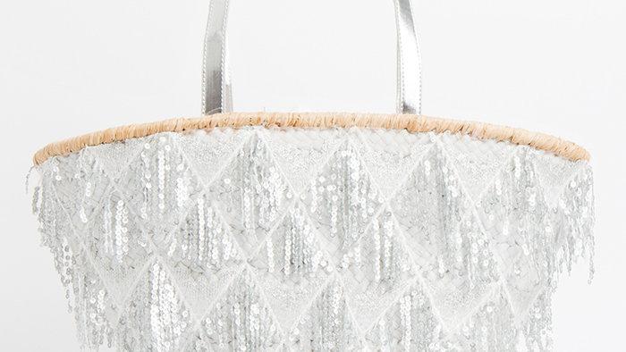 Ibiza Silver Tassel Summer Bag Silver/White