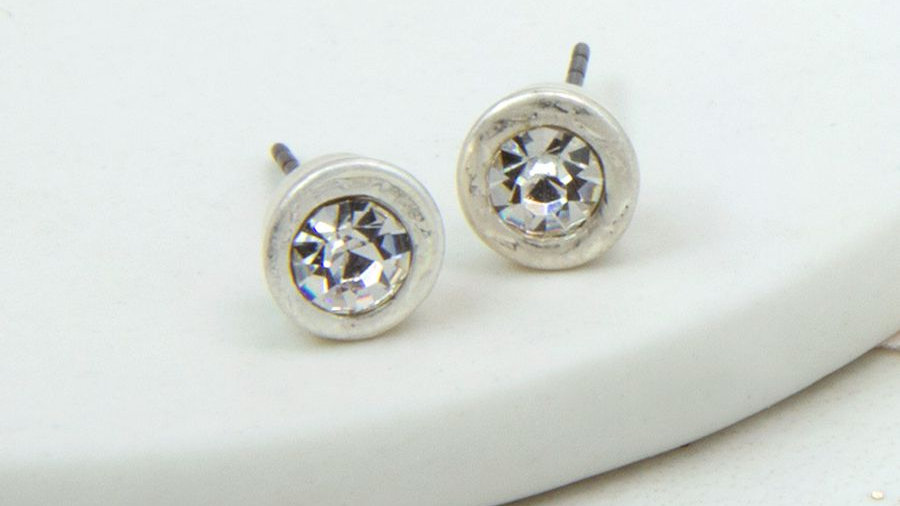 Silver Plated Crystal Stud Earring