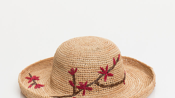 Small Brim Straw Summer Hat with Red EmbroideredFlowers