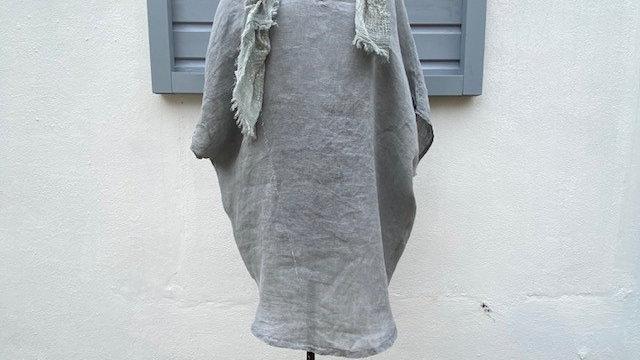 Silver Grey Linen V Neck Tunic