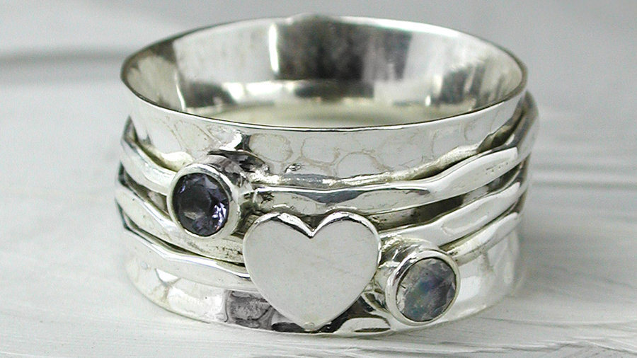 Silver Moonstone Heart Spinning Ring