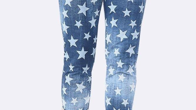 Denim Star Print Lounge Pants