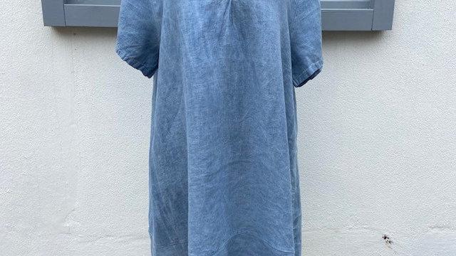 Denim Blue Linen V Neck Dress