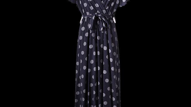 Navy Spotty Summer Dress