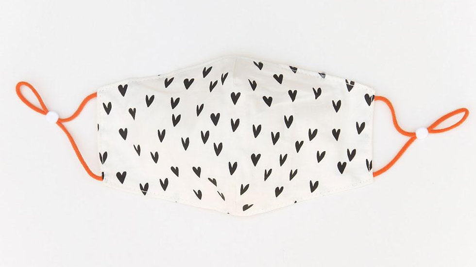 Small Heart Designer Print Double Layer Face Cover