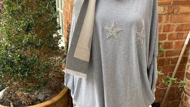 3 Sequin  Star Cotton  Tunic