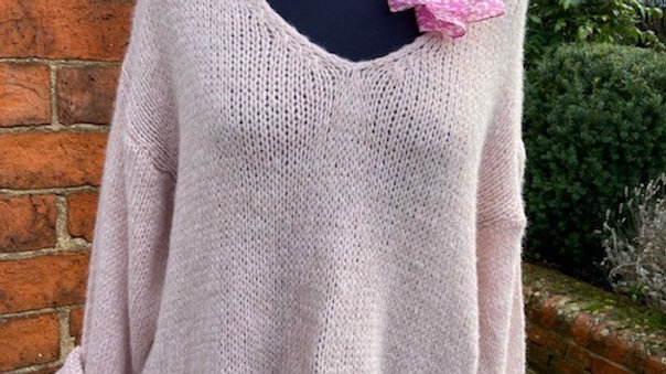 Chunky Knitted V Neck Jumper