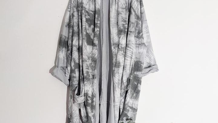 Grey Tie Dye Waterfall Jersey Jacket