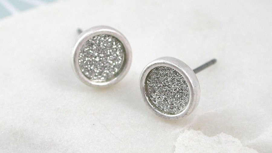 Silver Sparkle Stud Earring