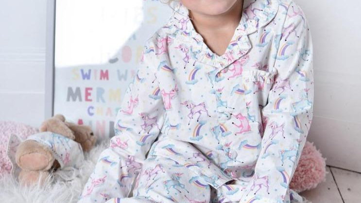 Girls Luxury Unicorn Print 100% Cotton Long Sleeved Pyjamas