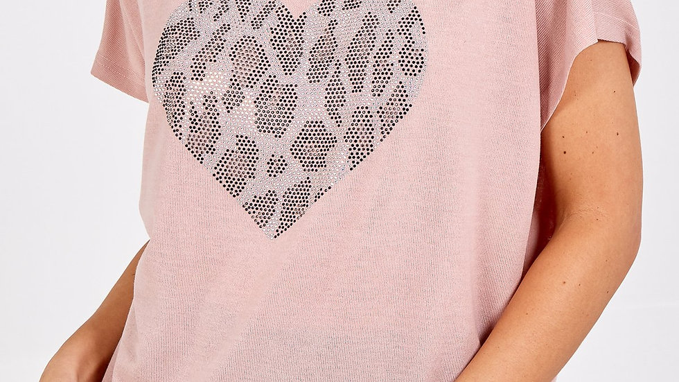 Pink Tee with Sequin Heart Logo