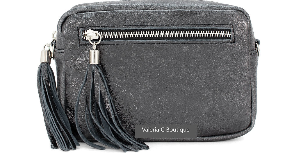 Real Leather Crossbody  Bag With Tassels  - Metallic Pewter Grey