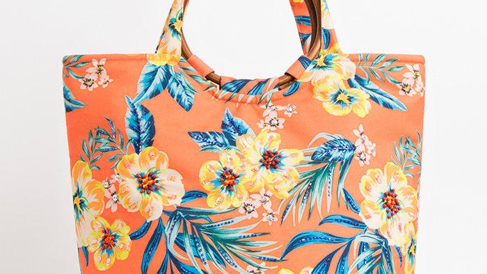 Orange Floral Summer Bag with  Wooden Handles