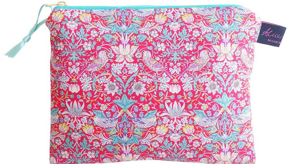 Travel Pouch Strawberry Thief Red - Liberty Print