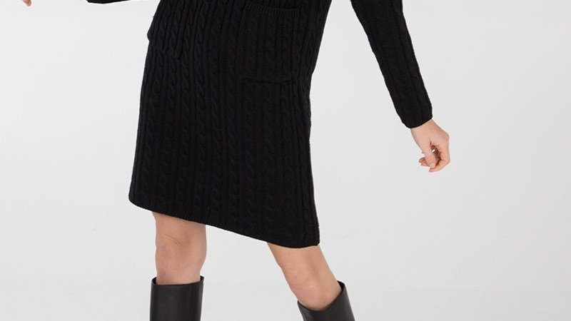 Black Cable Knit Polo Neck Tunic