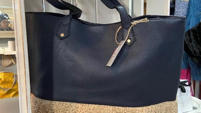 Faux Sheepskin Tote Bag In Vegan Leather