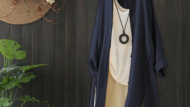 Navy Cotton Long Shirt