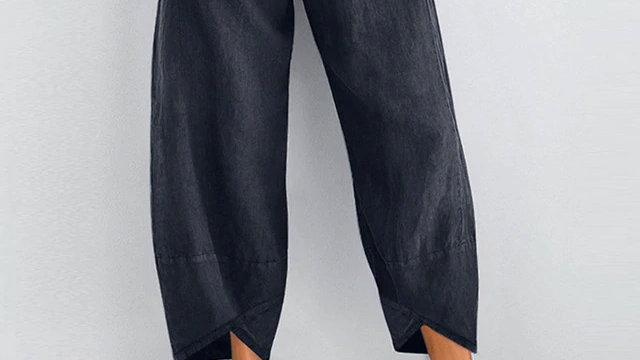 Cotton Crop Harem Trousers in Plain Navy