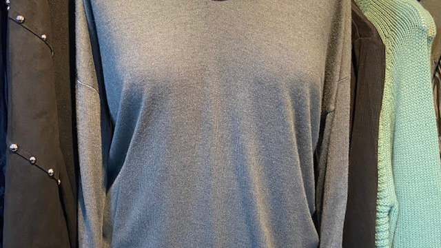 d.e.c.k Clothing Light Weight Grey Long Sleeve Tee with Gold Sparkle Trim