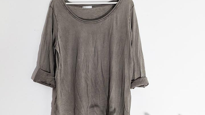 Vintage Wash Taupe Cotton Top with Raw Edge Hem