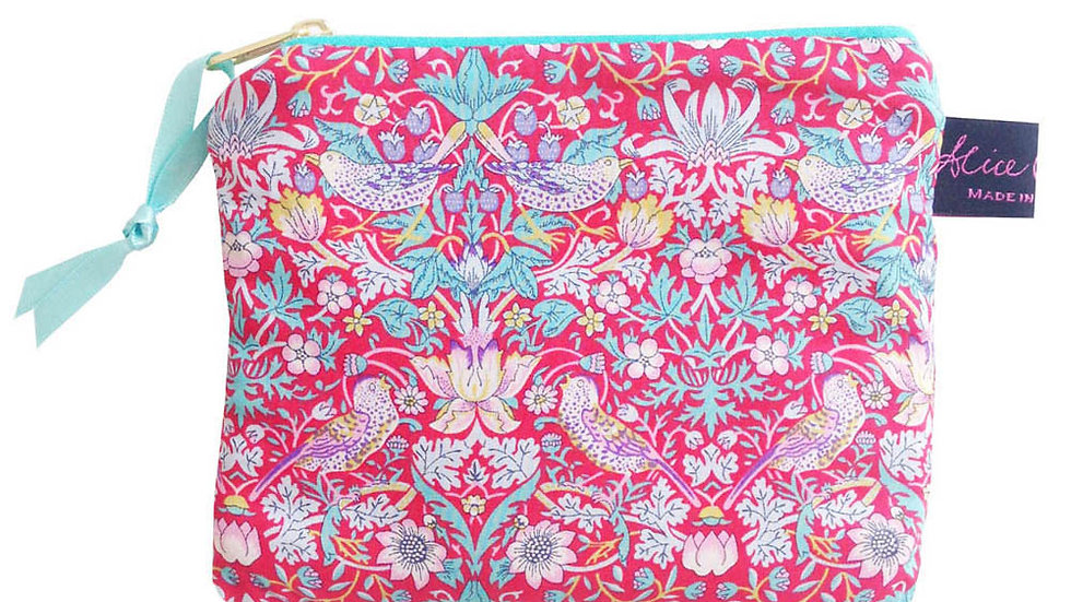 Small Coin Purse in Liberty Print Strawberry Thief Red
