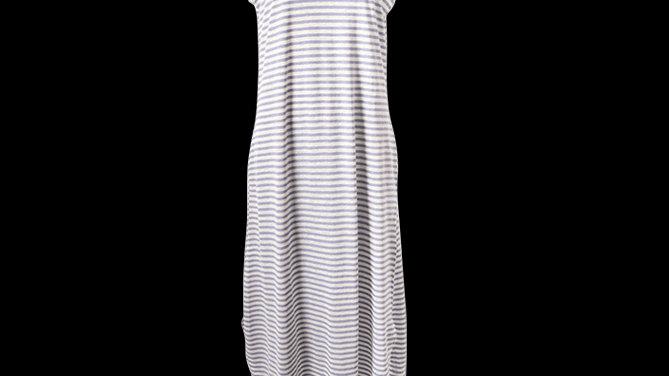 Denim Blue Stripe Maxi Cotton Summer Dress