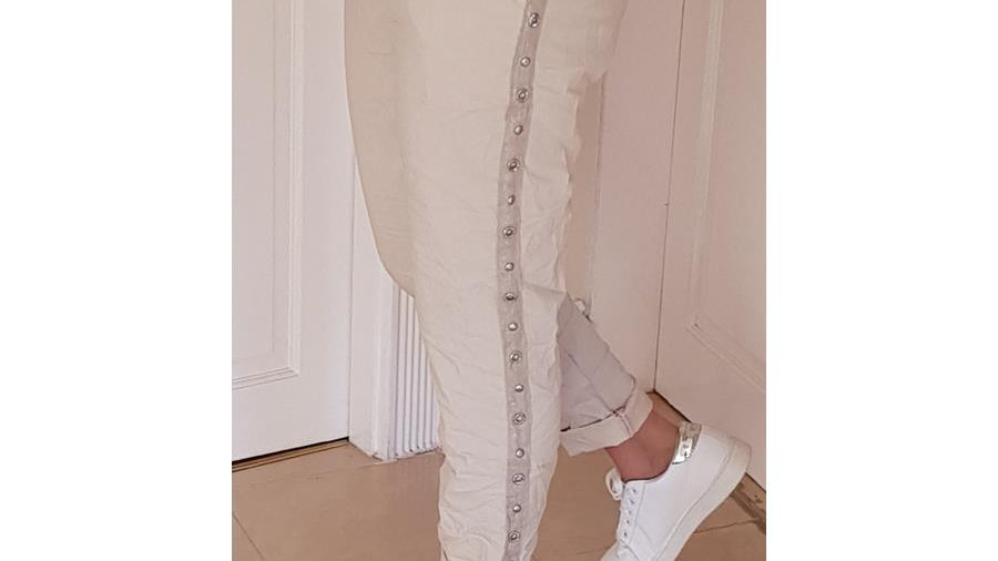 Beige Lounge Trousers with Side Studding