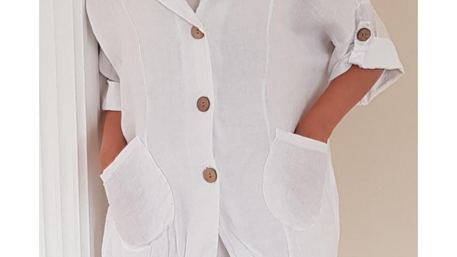 White Linen Button Jacket