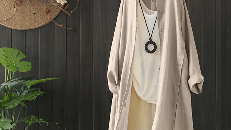 Beige Cotton Long Shirt
