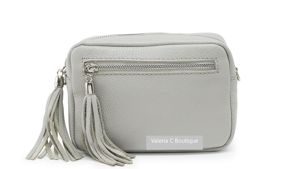 Real Leather Crossbody  Bag With Tassels  - Silver Grey